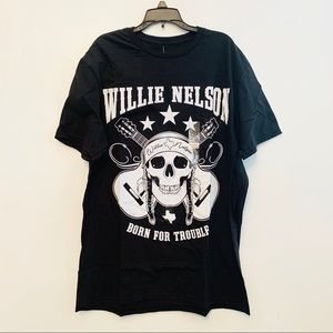 Willie Nelson Band T-Shirt Black Cotton Large